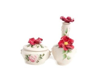 Vintage Vanity Set Perfume Bottle with Stopper Powder Box Trinket Holder Applied Flowers Hand Painted