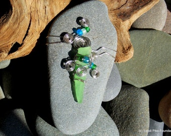 sea glass art / sea glass and sea stones/ wire wrapped glass and stone, silver, green,blue /wire wrapped with beads, glass beads , beach art