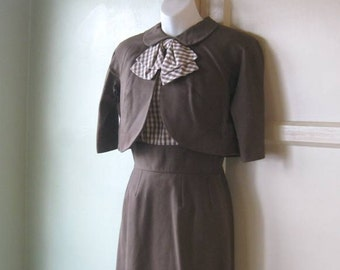 Chic 1950s Brown Bolero with Peter Pan Collar & Checked Bow for Matching Dress~Brown Cropped Jacket; Milarre Originals