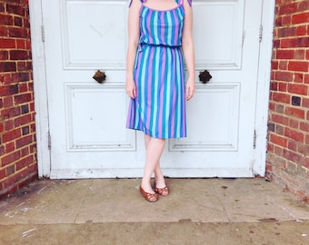 1970's Blue & Purple Striped Summer Dress