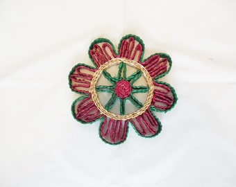 Woven Straw Trivet Hot Pad Red Green and Natural Straw Round Mat