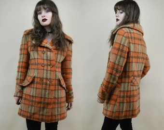 60s Orange Beige Double Breasted Plaid Check Fuzzy Wool Heavy Mod Pea Coat Winter Jacket M