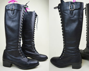 80s 90s Black Leather Almond Toe Lace Up Ski Hooks Side Buckle Chunky Heel Knee High Riding Boots UK 6 / US 8.5 / EU 39
