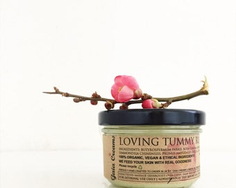 LOVING TUMMY RUB Stretch marks repairing cream. Versatile and effective.Raw. Truly Organic, Vegan, Ethical 120ml