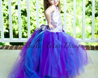 Flower Girl Floor Length Sewn Tutu Dress in Purple and Lavender Satin Corset Top with Detachable Train CUSTOMIZABLE