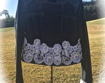Izzy Roo  Double Breasted Indigo Jacket  Lace Icing Shabby Chic Altered Couture Cowgirl Sweetheart