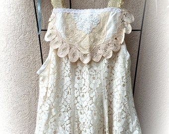 Lace Sweetheart Cami Top Coachella Gypsy Vinty Style Size Small