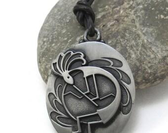 Southwestern Jewelry, Kokopelli Necklace, Native Kokopelli Pendant - Kokopelli Fertility Charm Pendant