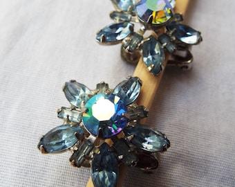 Vintage WEISS Blue Rhinestone Sunburst Earrings Aurora Borealis