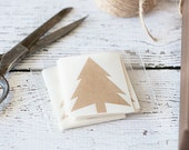 Brown Kraft Christmas Tree Stickers.  Winter Stickers, Gift Wrap, Holiday Stickers, Envelope Seals