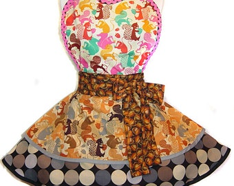 Nutz! Squirrels & Acorns Retro Fall/Winter Apron: A Tie Me Up Aprons Exclusive!