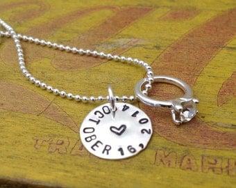 Custom Wedding Marriage Necklace.  Proposal. Wedding Gift.  Wedding Date.  Bride gift. Engagement Ring.