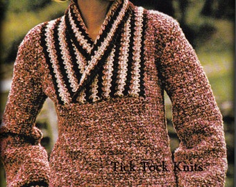 No.517 1970's Crochet Pattern Vintage PDF - Women's Shawl Collar Pullover Sweater - Retro Crochet Pattern - Instant Download