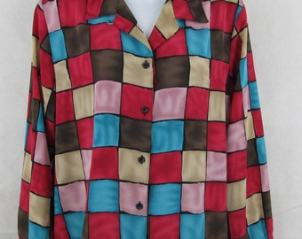 Elementz New Long Shirt Sleeve Womens Button Top Blouse New Size Down S Sz Red Women Black Xl Striped Nwt Sleeved Ladies Chic Blouses Classy