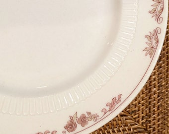 Dinner Plate, Pretty Pink Floral Restaurant Ware by Syracuse China ca. 1980s