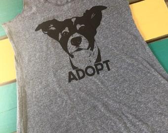 "All sizes! women's Adopt ""Rex"" heather grey racerback tank top Benefits dog cat rescue"