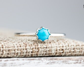 Sleeping Beauty Turquoise gemstone ring in Sterling Silver - Aqua Blue Stack stacking stackable ring - Made in your size - Tiny Turquoise