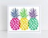 Bright Pineapples Watercolor Painting Art Print || pop art, bright colors, pineapple poster, tropical decor, original watercolor painting