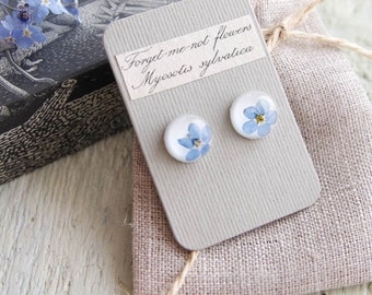 Forget me not stud earrings. Cute Floral jewelry. Real flowers gift for someone special. 925 sterling silver posts