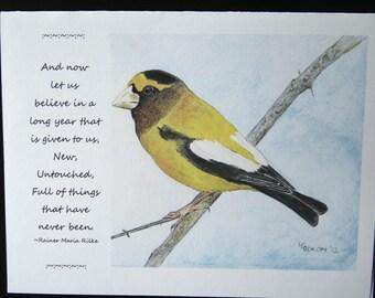 Evening Grosbeak blank note card, The Happy Wren, Rainer Maria Rilke quote, New Year, Bird, Nature, Winter, original artwork, watercolor