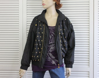 Vintage Womens Casual Isle Windbreaker Jacket Black w Gold Stars Size Small Petite