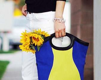 Simple Leather Tote, Modern Leather Bag, Large Tote Bag, Leather Cross Body Bag, Cobalt and Yellow Bag