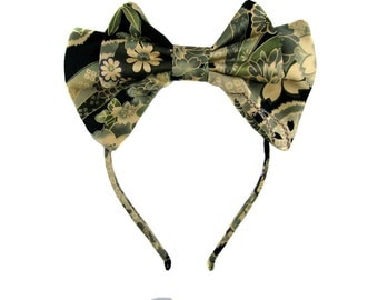 Adjustable Lolita bow headbow grey and green wa-loli yukata print japanese fabric kawaii