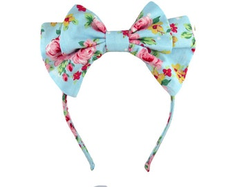 PREORDER FOR JUNE  Adjustable Lolita bow headbow bright blue and pink floral print
