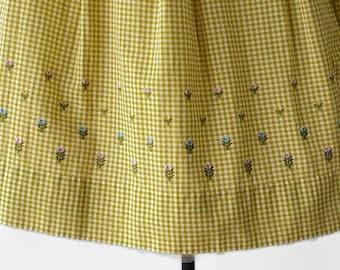 60s Gingham Plus Size Skirt Rockabilly Golden Wheat Flocked Metal Zipper