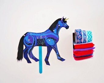 DIY Blue Unicorn Paper Doll / DIGITAL DOWNLOAD / Articulated Doll / Party Supplies