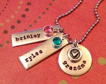 Grandmother's Mother's personalized hand stamped metal necklace with a heart and names