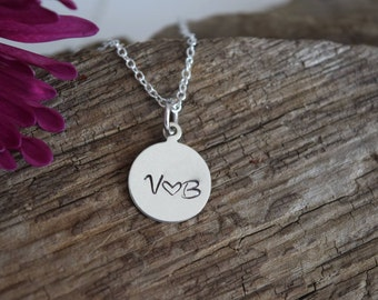 hand stamped round initial necklace - personalized monogram necklace - couple necklace - anniversary gift