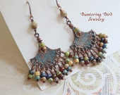 Tribal Chandelier Earrings, Fan Earrings with Blue Patina on Copper, Earthy Multi Color Seed Bead Fringe Earrings, Gypsy Bohemian Jewelry