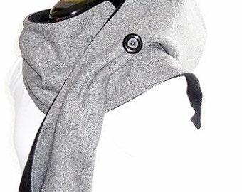 Hooded Scarf (long) gray-mottled / black