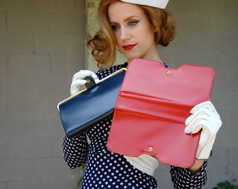 Vintage convertible leather clutch purse, navy blue, red 1960s