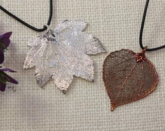 SALE Leaf Necklace, Copper Aspen Leaf, Real Leaf Necklace, Silver Maple Leaf, Real Leaf Pendant, Silver Leaves, Holiday Gifts SALE218