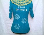 Snow Princess Sparkly Ugly Christmas Sweater Shirt Womens Medium Snowflakes Multicolr princess Pretty Teal Blue