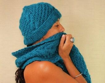Azure Blue Hat, Knit Hat, Chunky Hat, Cable Knit Hat, Warm Beanie, Slouchy Hat, Women Blue Hat Knit Beret Alpaca Wool Hat Winter Accessories