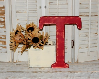 Wooden Letter T Distressed Wood letters Made To order Photo Props