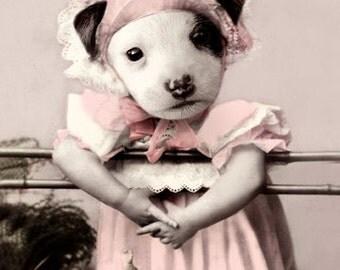 Christina, Dog Art, Vintage Dog Print, Anthropomorphic, Whimsical Dog Art, Photo Collage, Nursery Decor, Unique Wall Decor, Dog Note Cards