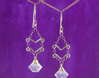 First Love Rose Quartz Earrings//14K Gold Filled Light Weight Hand Formed Artisan Earrings//Soft Pink Stone Dangle Earrings//Unique Cut