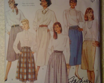 McCalls 3411 Sewing Pattern 80s Misses Skirt and Culotte Size 10-12-14