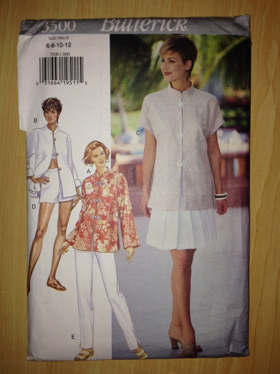 Vintage 90s Butterick 3500 Sewing Pattern Misses Top Skirt Shorts and Pants Uncut Size 6-12