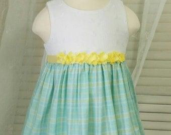 Little Girl's Eyelet and Plaid Springtime Easter Dress