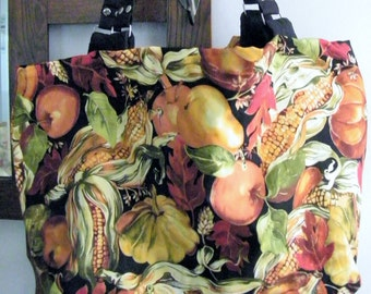 Tote Bag Shoulder Purse Autumn Harvest Market Bag Halloween Fall Leaves Oversize One of a Kind Vegan  Knitting Craft Book Bag Pocket