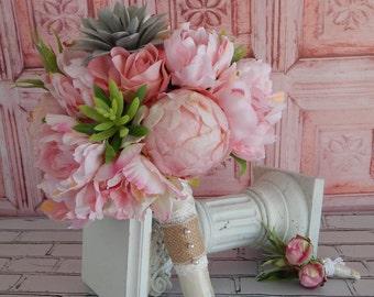 Blush Pink Peony Wedding Bouquet - Pink Peony Bridal Bouquet, Succulent Bouquet, Succulent Boutonniere- Ready To Ship