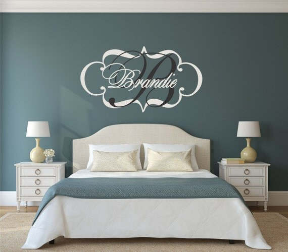 Elegant Monogram Wall Decal Personalized Wall Decal Shabby