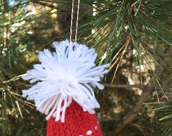 Red White Miniature Hat Ornament- Mini Beanie- Christmas Decor- Hand Knitted-  Holiday, Doll, Pets, Advent, Present Topper