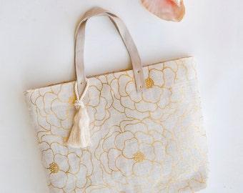 White Gold Jute Beach Bag Burlap Beach Tote Hibiscus
