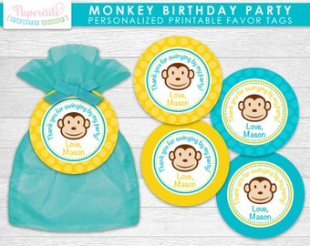 Monkey Boy Theme Birthday Party Favor Tags | Yellow & Teal | Personalized | Printable DIY Digital File